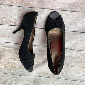 SEYCHELLES | black suede peep toe heels 9